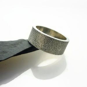 Brushed Sterling Silver Ring 8mm - rings