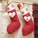 His And Hers Nordic Red Snowflake Stockings