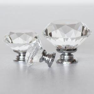 Clear Faceted Crystal Glass Cupboard Door Knobs - home accessories