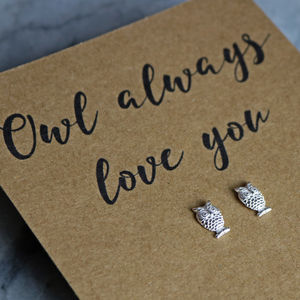Owl Always Love You Sterling Silver Earrings - earrings