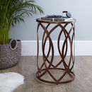 Copper Leaf Round Side Table