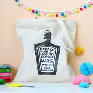Books Are Magic Quote Tote Bag