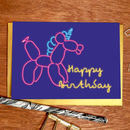 'Happy Birthday' Balloon Unicorn Greeting Card