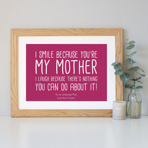'My/Our Mother' Quote Print - personalised sale