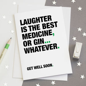 Funny 'Get Well Soon' Card For Gin Lovers