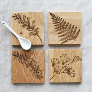 Fern And Foliage Oak Coasters - kitchen