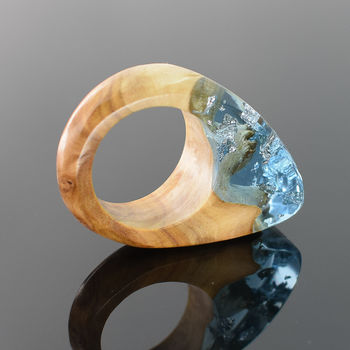 Blue Resin And Wood Ring