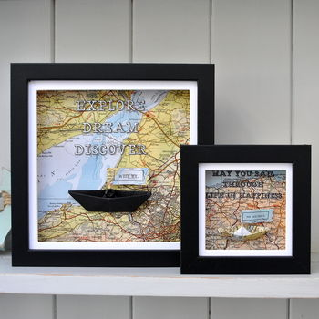 Personalised Coastal Map Paper Boat Picture Frame