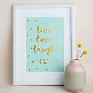 Personalised 'Live Love Laugh' Papercut Print - posters & prints
