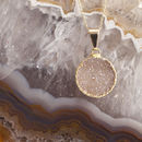 Mini Circle Drusy Semi Precious Pendant Necklace