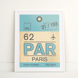 Paris Vintage Luggage Tag Print