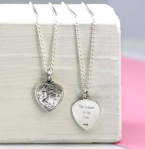 Personalised Heart St Christopher Necklace
