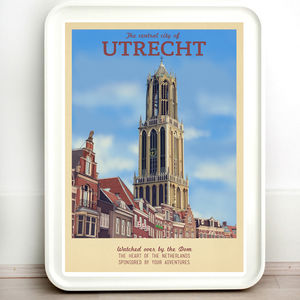 The Netherlands Utrecht Retro Travel Print