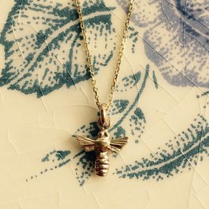 Honey Bee Pendant Solid 9ct Yellow Eco Gold - summer sale