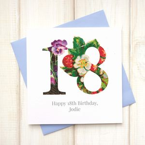 Personalised 18th Floral Birthday Card - birthday cards