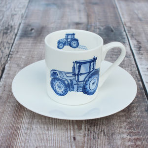 'Tractor' Espresso Cup And Saucer - tableware