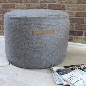 Round Herringbone Wool Pouffe - furniture