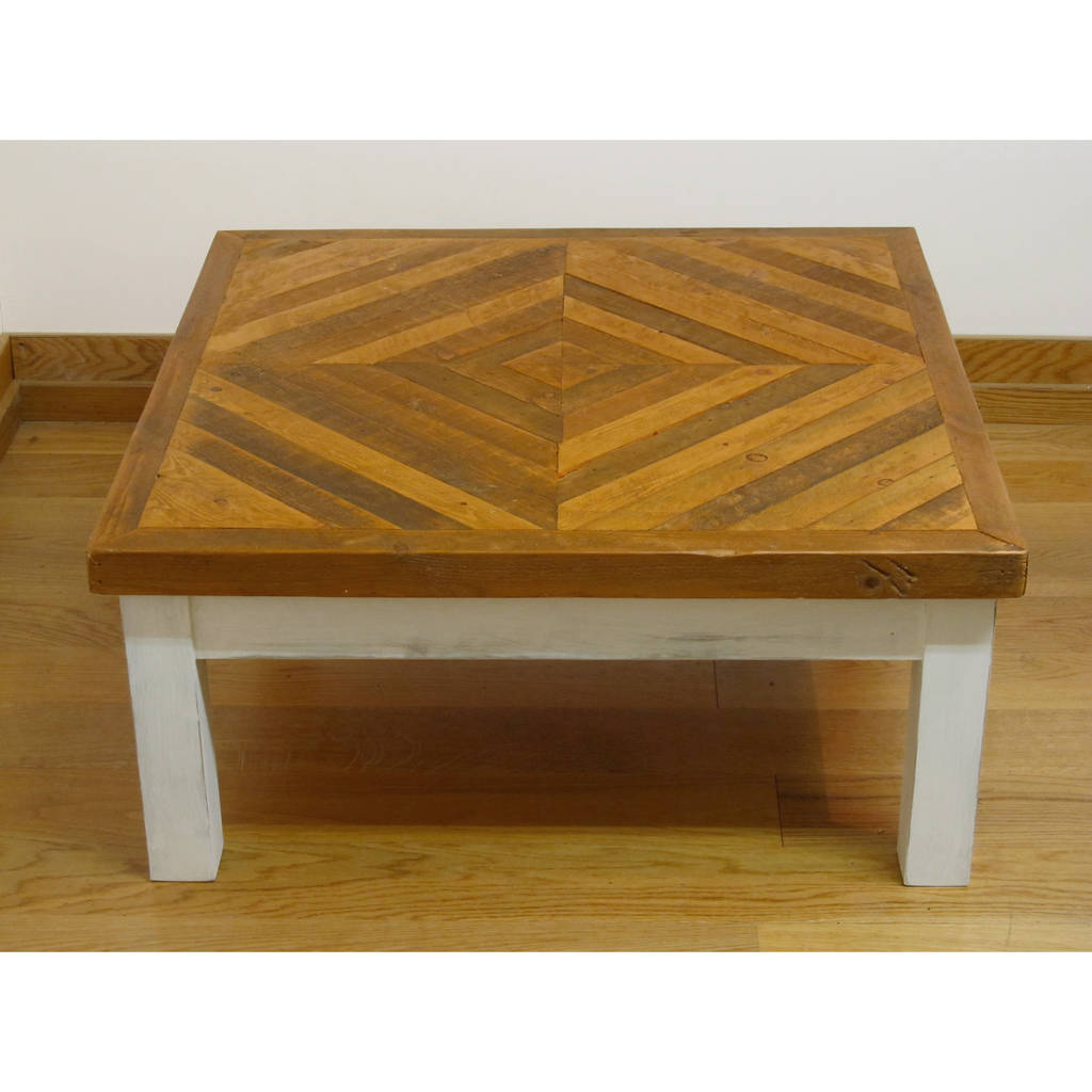 British made reclaimed herringbone top coffee table