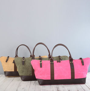 Womens Waxed Canvas Travel Duffel Bag - summer sale