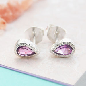 Amethyst February Purple Silver Teardrop Stud Earrings - earrings