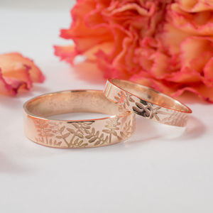 Botanical Wedding Bands In 9ct Rose Gold - rings