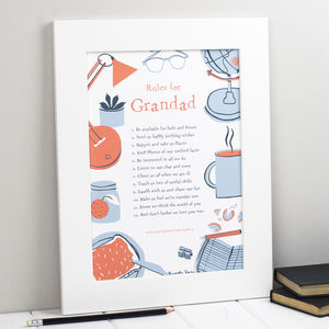 Rules For Grandfathers Personalised Print - posters & prints