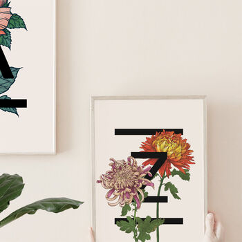 Birth Flower Family Initials Prints, Unframed