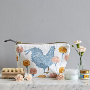 Chicken And Carnation Cosmetic Bag