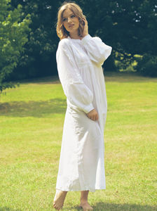 Polo Long Sleeve Cotton Nightdress - women's fashion