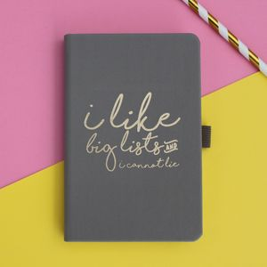 Metallic Print 'I Love Big Lists' Notebook - stationery-lover