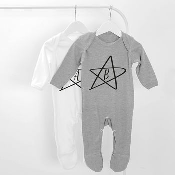 Personalised Initial Star Baby Grow