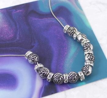 Silver Rose Crystal Bead Necklace