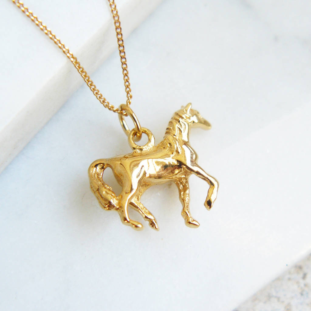 Sterling silver horse charm necklace by lime tree design sterling silver horse charm necklace mozeypictures Gallery