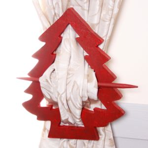 Red French Chalet Tree Curtain Tie - home accessories