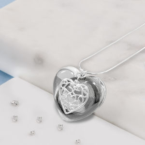 Large Resin And Silver Memorial Heart Necklace - necklaces & pendants