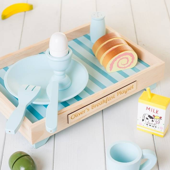 Personalised Pale Blue Wood Play Kitchen Breakfast Set