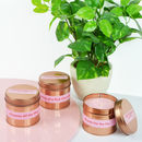 Pink Fizz Christmas Rose Gold Tin Candle