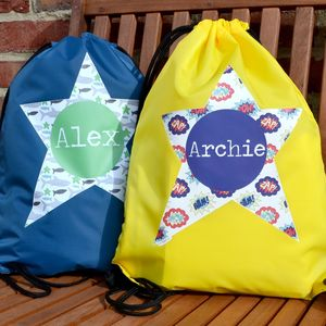 Personalised Waterproof Swimming Kit Bag Boy's Designs - more