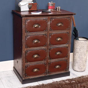 Faux Mahogany And Leather Chest Of Eight Drawers - furniture