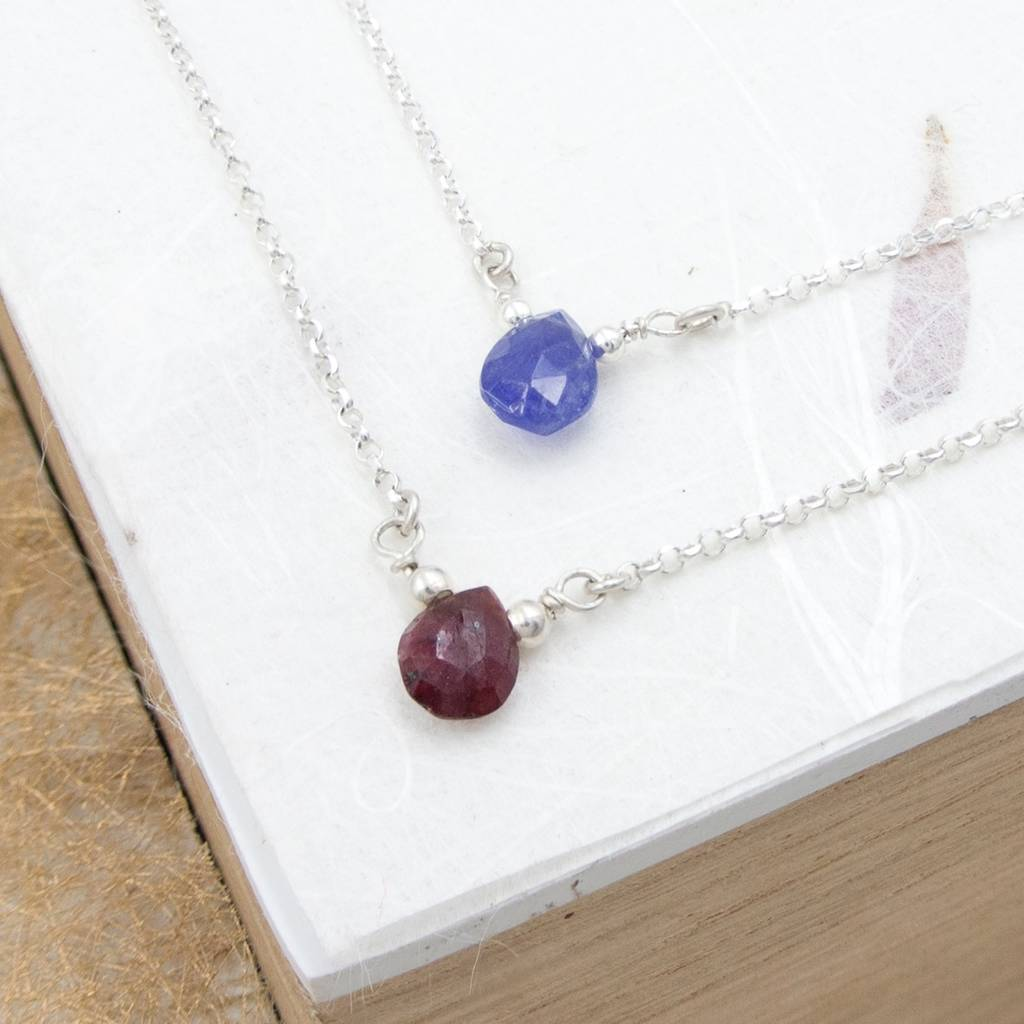 sapphire briollette multi white product briolette drop necklace untreated natural color