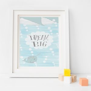 Nursery Decor Dream Big Narwhal Print