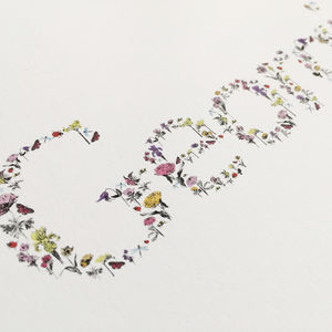 Hand Painted Personalised Flower Name Print