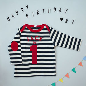 Long Sleeved Baby Birthday Top, Navy And White