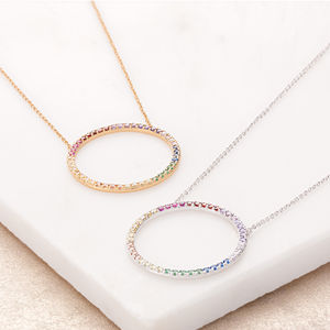 Open Circle Rainbow Necklace With Slider Clasp