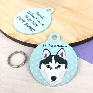 Husky Personalised Dog Name ID Tag - clothes
