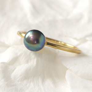Black Pearl Ring In 18ct Gold