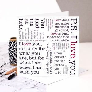 Wedding Anniversary Card; Love Quotes Card - summer sale