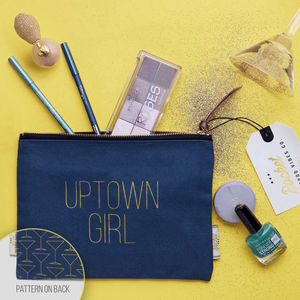 Make Up Bag With Slogan And Pattern 'Uptown Girl' - make-up & wash bags