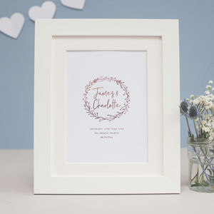 Wedding Wreath Personalised Foil Print - posters & prints