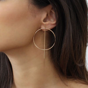 Small Geometric Hoop Earrings - statement earrings